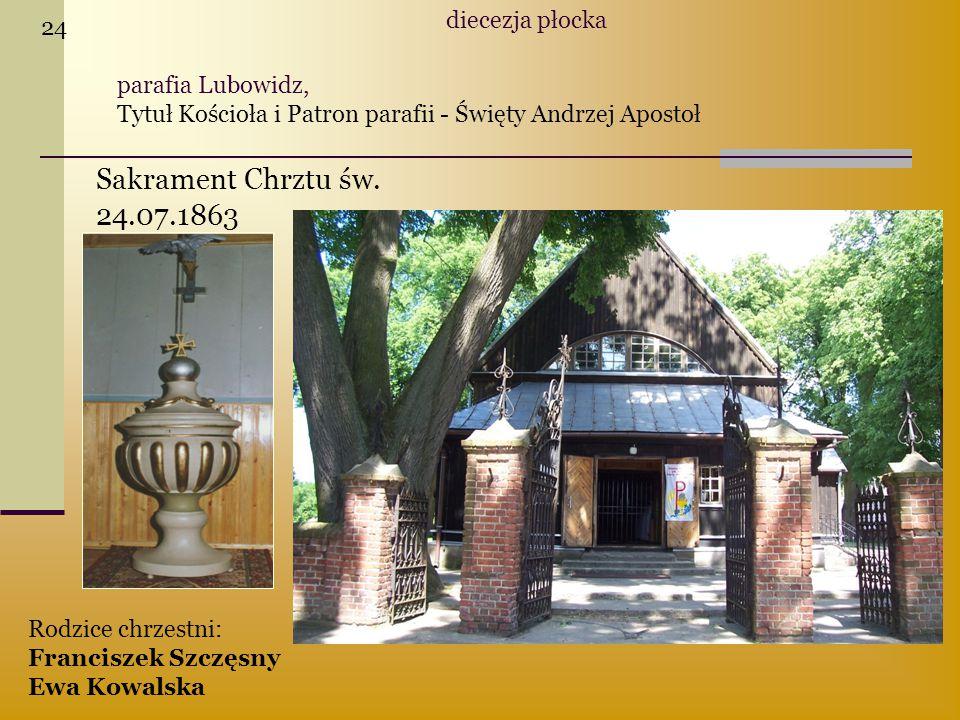 Sakrament Chrztu św. 24.07.1863 diecezja płocka 24 parafia Lubowidz,