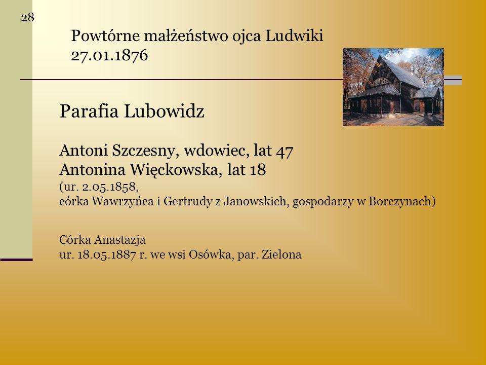 Parafia Lubowidz Powtórne małżeństwo ojca Ludwiki 27.01.1876