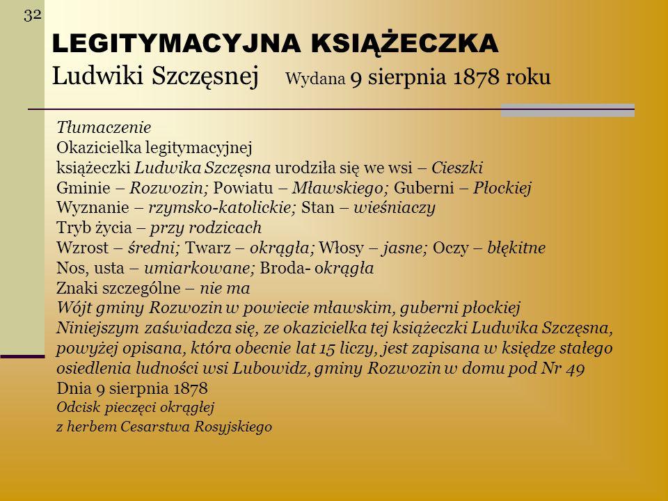 LEGITYMACYJNA KSIĄŻECZKA Ludwiki Szczęsnej Wydana 9 sierpnia 1878 roku