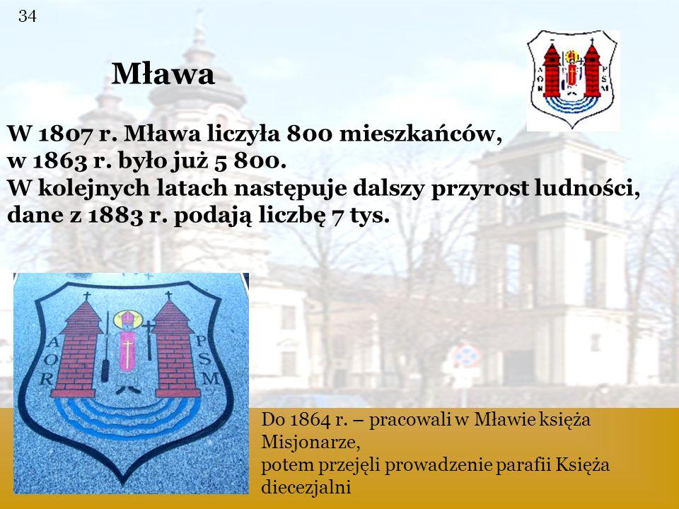 Mława Mława W 1807 r. Mława liczyła 800 mieszkańców,