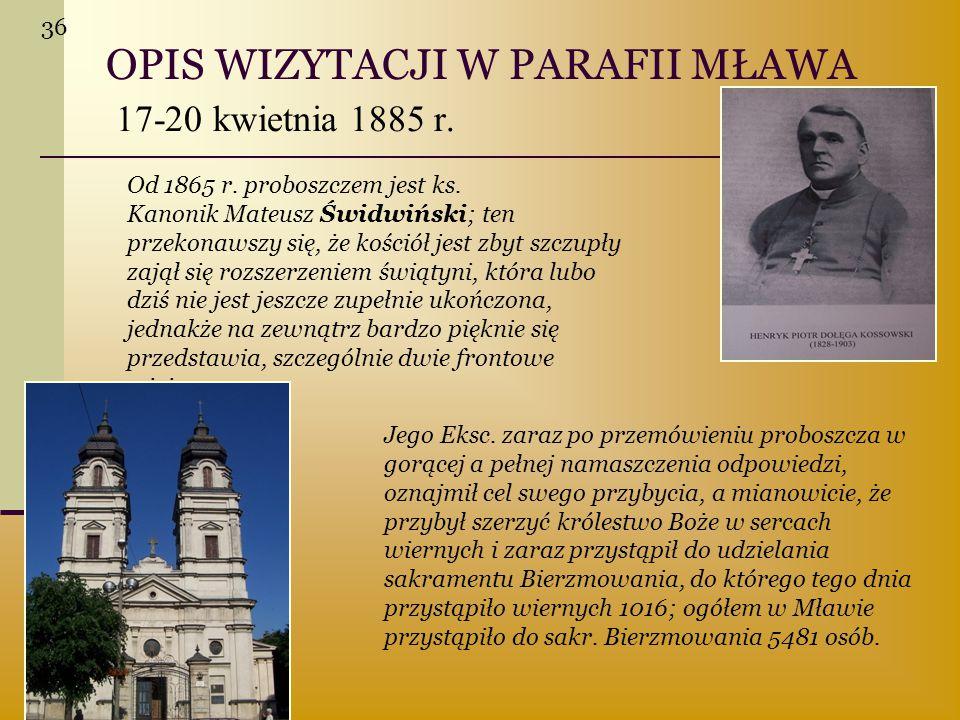 OPIS WIZYTACJI W PARAFII MŁAWA 17-20 kwietnia 1885 r.