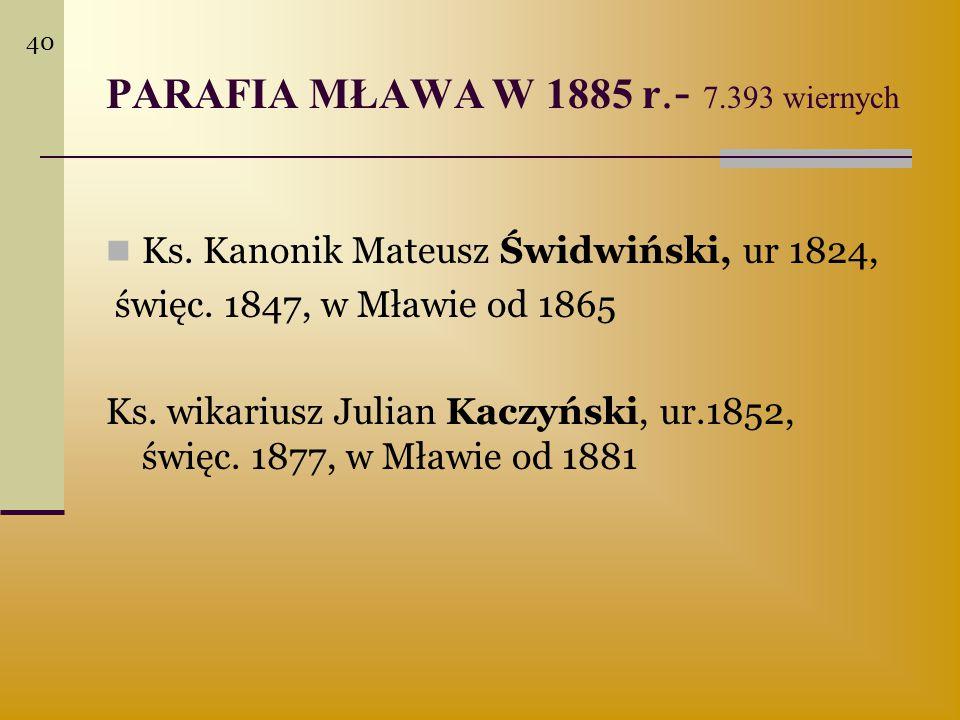 PARAFIA MŁAWA W 1885 r.- 7.393 wiernych