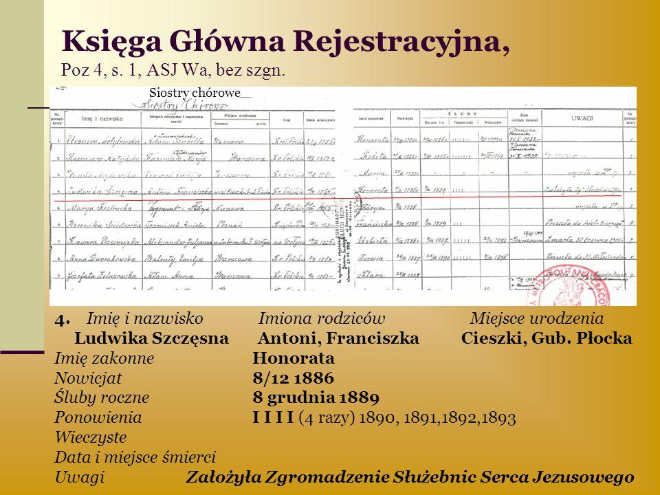 Księga Główna Rejestracyjna, Poz 4, s. 1, ASJ Wa, bez szgn.