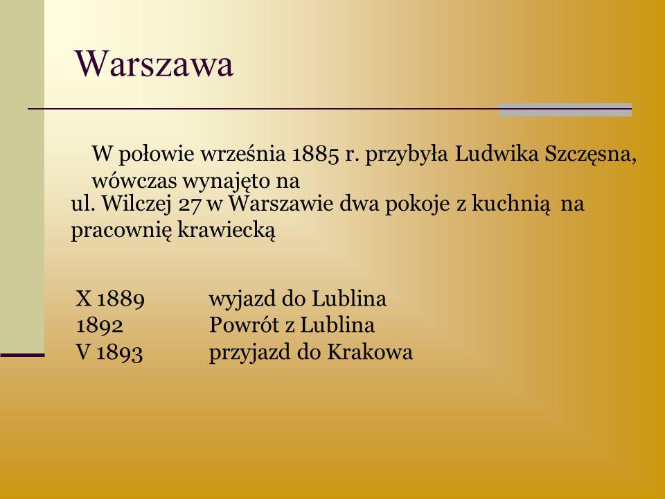 Warszawa W połowie września 1885 r. przybyła Ludwika Szczęsna,