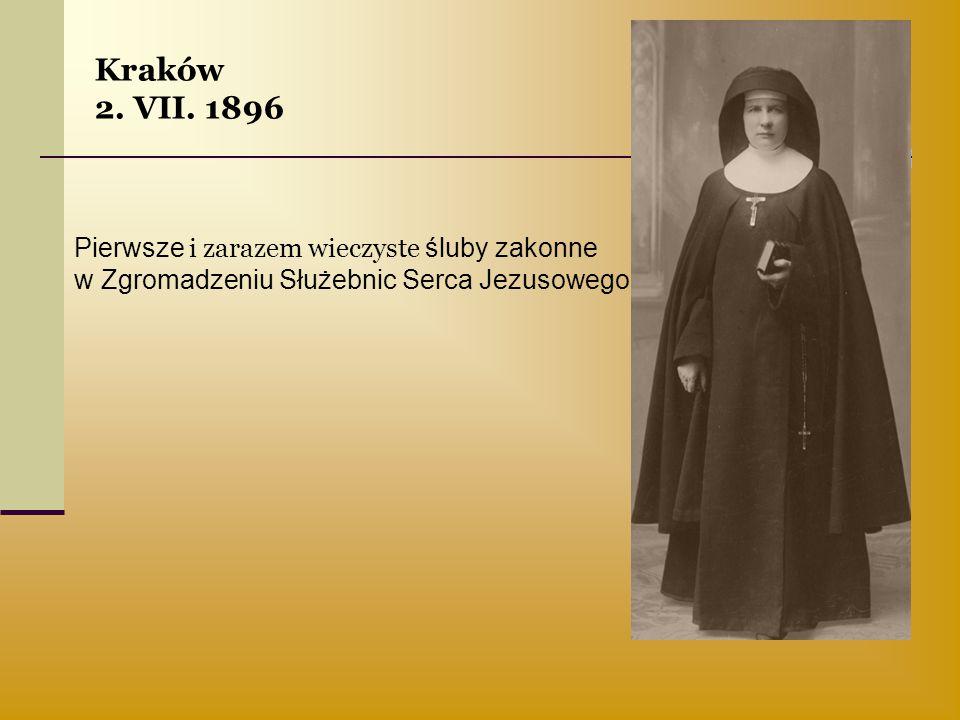 Kraków 2. VII. 1896 Pierwsze i zarazem wieczyste śluby zakonne
