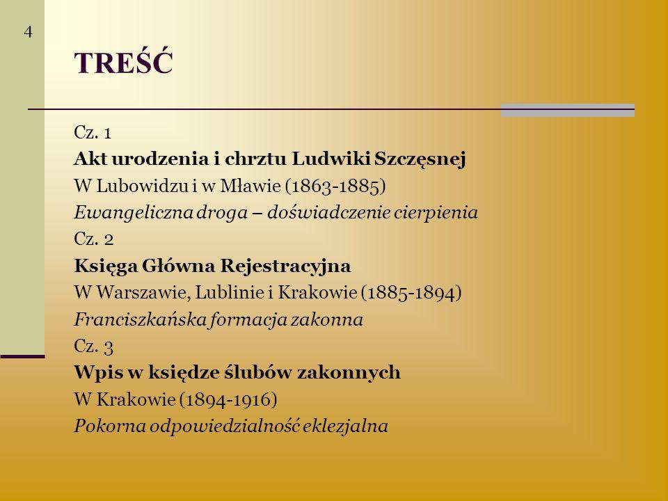 TREŚĆ Cz. 1 Akt urodzenia i chrztu Ludwiki Szczęsnej