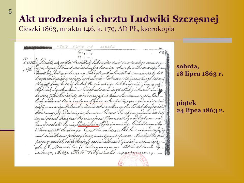 5 Akt urodzenia i chrztu Ludwiki Szczęsnej Cieszki 1863, nr aktu 146, k. 179, AD PŁ, kserokopia. sobota,