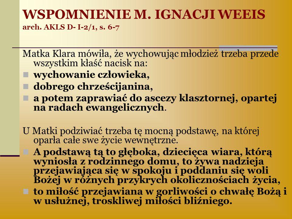 WSPOMNIENIE M. IGNACJI WEEIS arch. AKLS D- I-2/1, s. 6-7