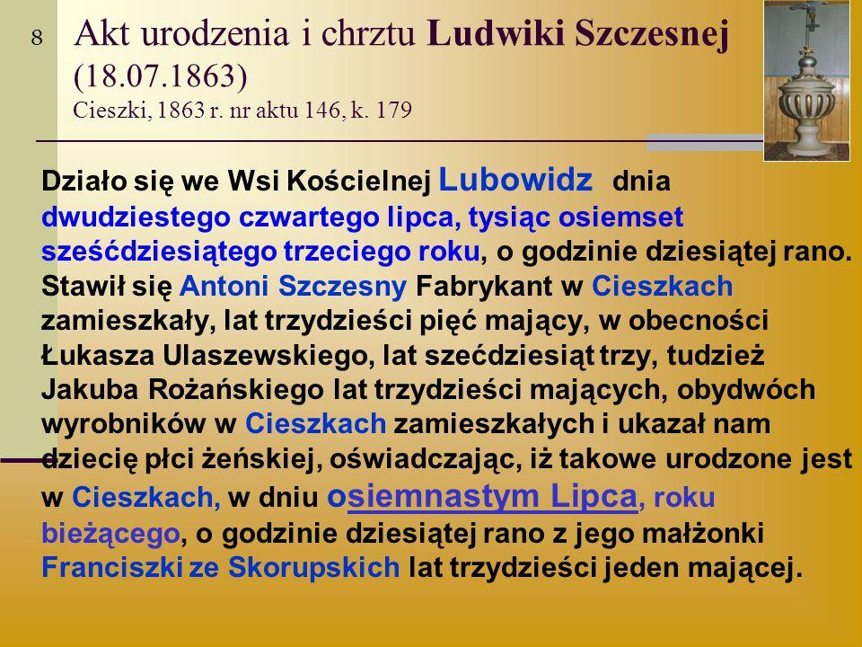 8 Akt urodzenia i chrztu Ludwiki Szczesnej (18.07.1863) Cieszki, 1863 r. nr aktu 146, k. 179.