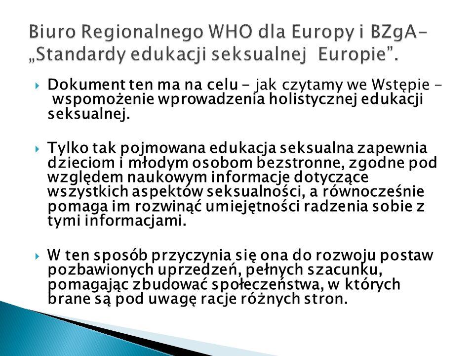 """Biuro Regionalnego WHO dla Europy i BZgA- """"Standardy edukacji seksualnej Europie ."""