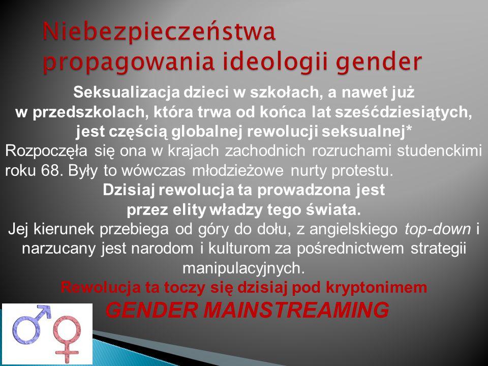 Niebezpieczeństwa propagowania ideologii gender