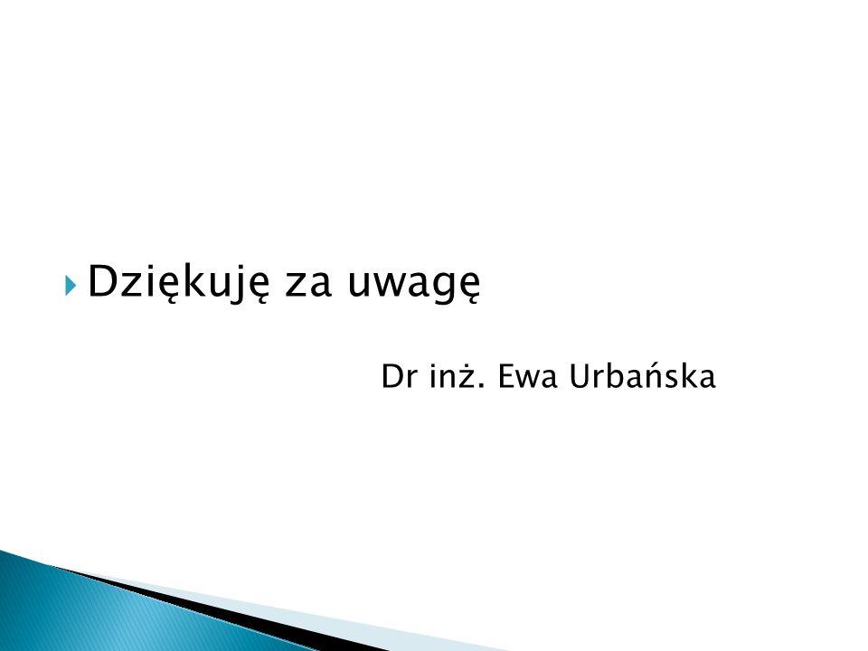 Dziękuję za uwagę Dr inż. Ewa Urbańska