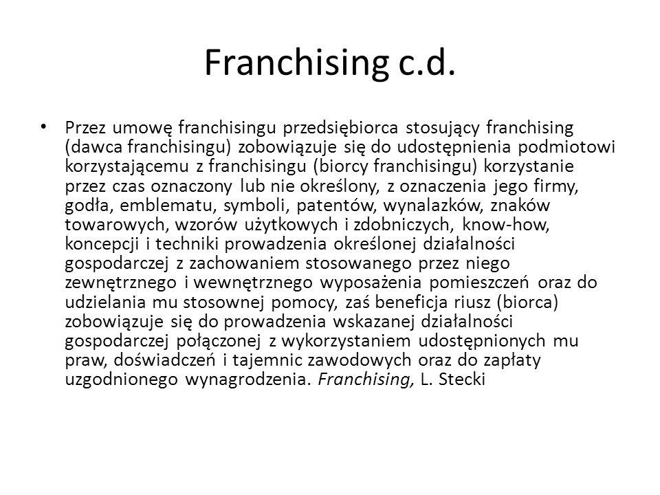 Franchising c.d.