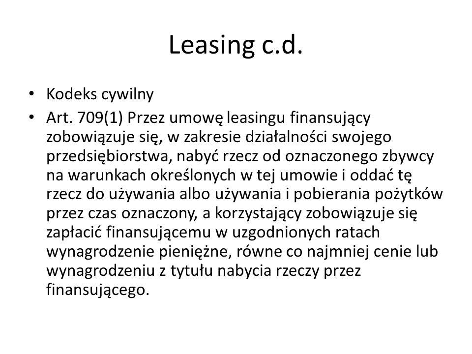Leasing c.d. Kodeks cywilny