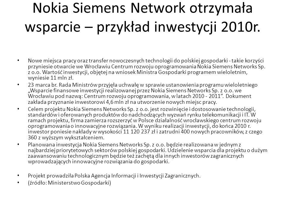 Nokia Siemens Network otrzymała wsparcie – przykład inwestycji 2010r.
