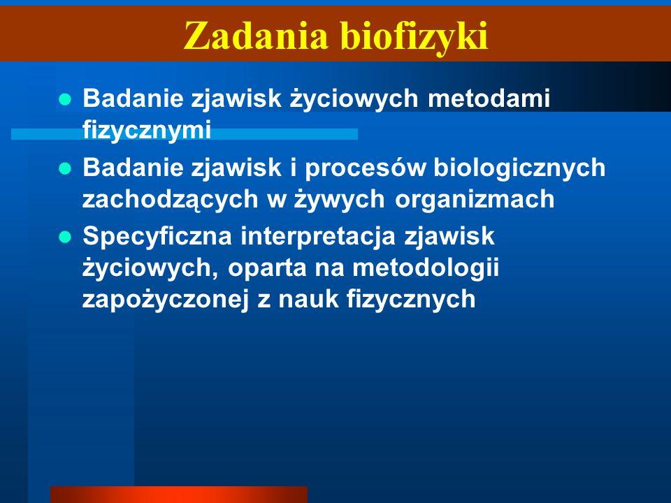 Zadania biofizyki Badanie zjawisk życiowych metodami fizycznymi