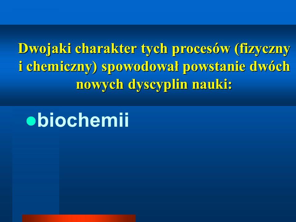 Dwojaki charakter tych procesów (fizyczny i chemiczny) spowodował powstanie dwóch nowych dyscyplin nauki: