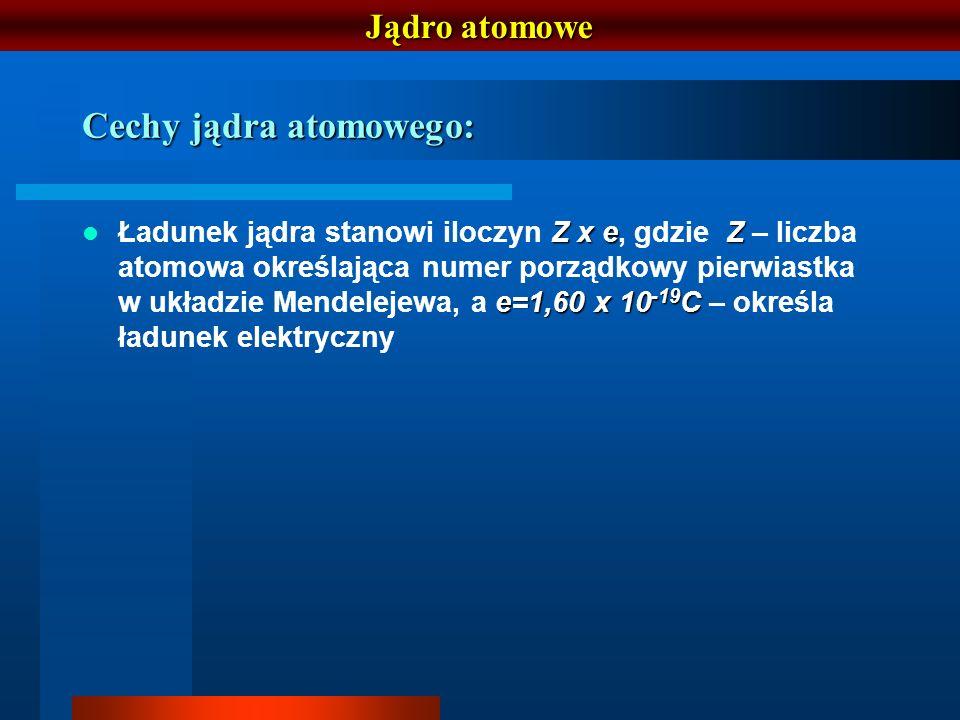 Cechy jądra atomowego: