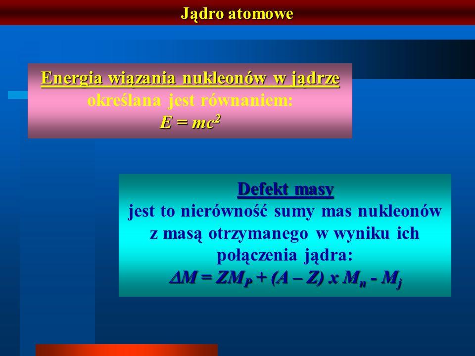Energia wiązania nukleonów w jądrze określana jest równaniem: