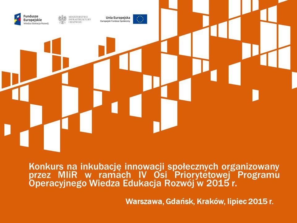 Konkurs na inkubację innowacji społecznych organizowany przez MIiR w ramach IV Osi Priorytetowej Programu Operacyjnego Wiedza Edukacja Rozwój w 2015 r.