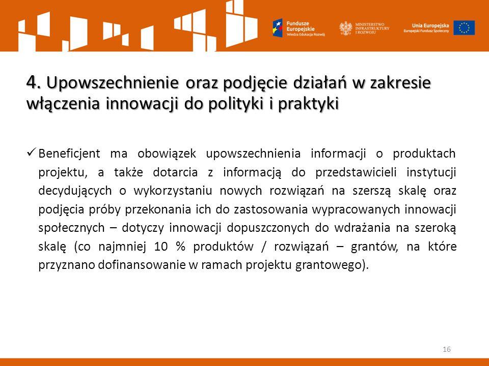 4. Upowszechnienie oraz podjęcie działań w zakresie włączenia innowacji do polityki i praktyki