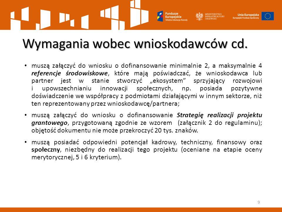 Wymagania wobec wnioskodawców cd.
