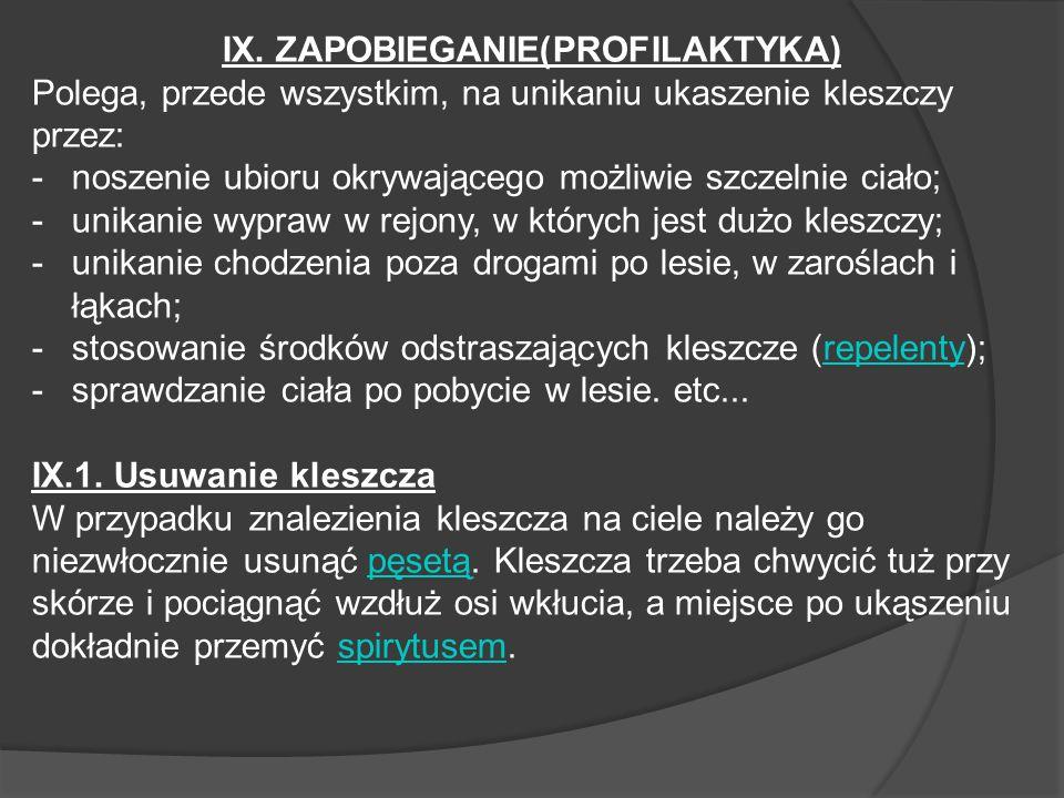 IX. ZAPOBIEGANIE(PROFILAKTYKA)