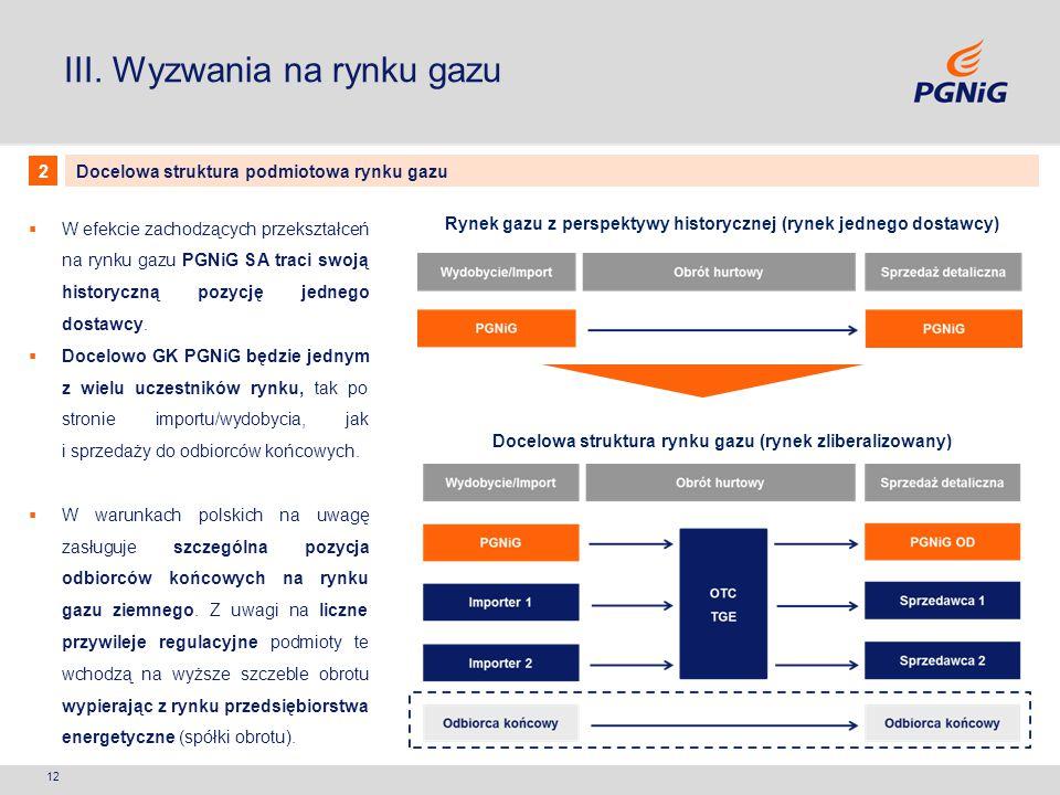 III. Wyzwania na rynku gazu