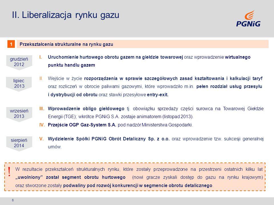 ! II. Liberalizacja rynku gazu 1