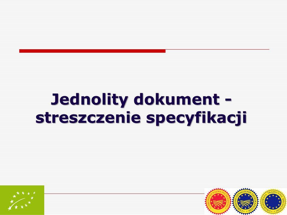Jednolity dokument - streszczenie specyfikacji