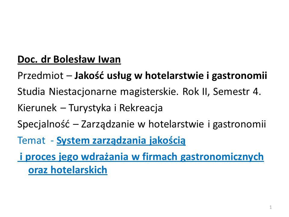 Doc. dr Bolesław Iwan Przedmiot – Jakość usług w hotelarstwie i gastronomii. Studia Niestacjonarne magisterskie. Rok II, Semestr 4.