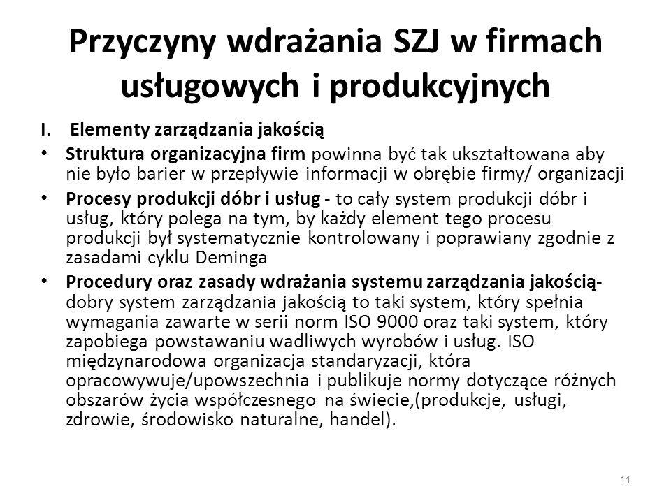Przyczyny wdrażania SZJ w firmach usługowych i produkcyjnych