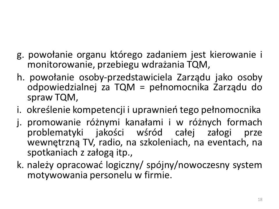 g. powołanie organu którego zadaniem jest kierowanie i monitorowanie, przebiegu wdrażania TQM,