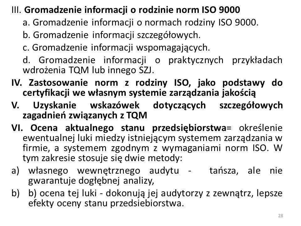 III. Gromadzenie informacji o rodzinie norm ISO 9000