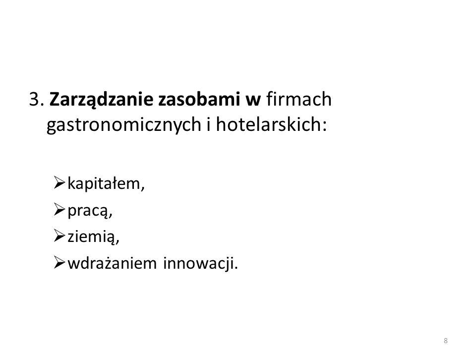 3. Zarządzanie zasobami w firmach gastronomicznych i hotelarskich: