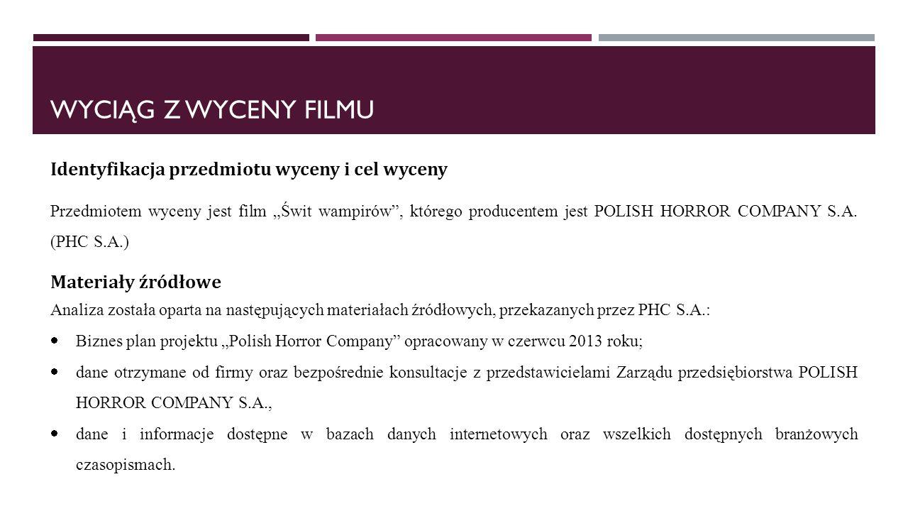 WYCIĄG Z WYCENY FILMU Identyfikacja przedmiotu wyceny i cel wyceny