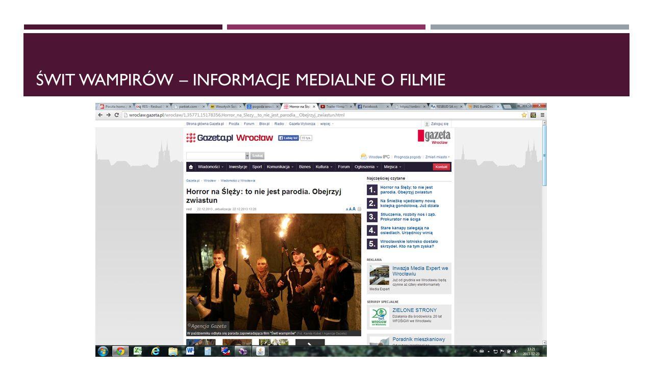 świt wampirów – informacje medialne o filmie