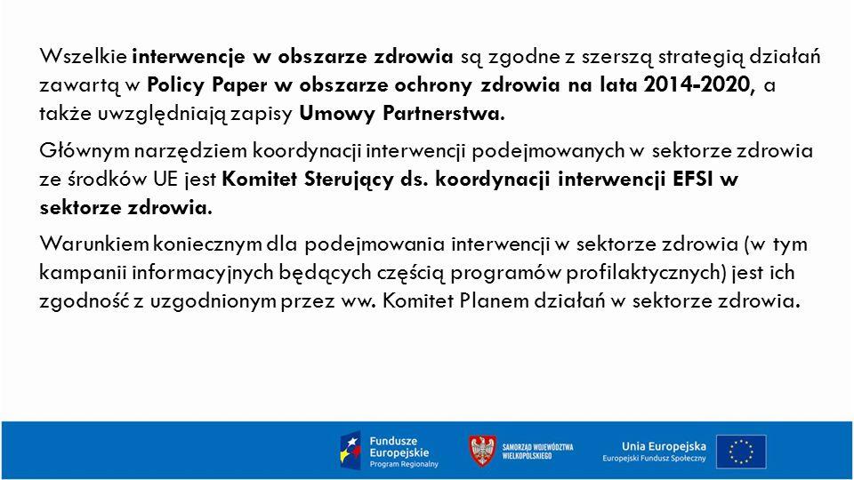 Wszelkie interwencje w obszarze zdrowia są zgodne z szerszą strategią działań zawartą w Policy Paper w obszarze ochrony zdrowia na lata 2014-2020, a także uwzględniają zapisy Umowy Partnerstwa.