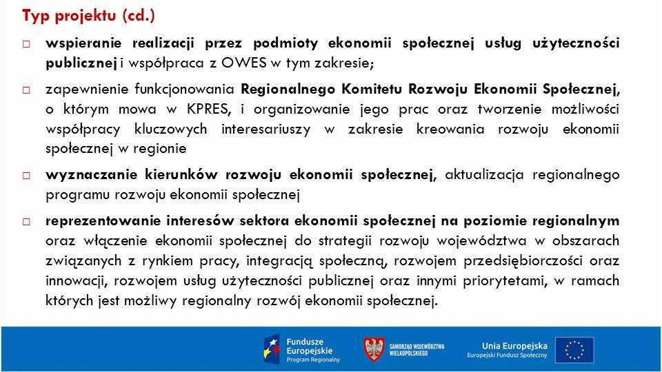 Typ projektu (cd.) wspieranie realizacji przez podmioty ekonomii społecznej usług użyteczności publicznej i współpraca z OWES w tym zakresie;