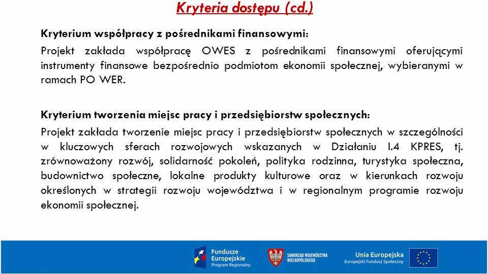 Kryteria dostępu (cd.) Kryterium współpracy z pośrednikami finansowymi: