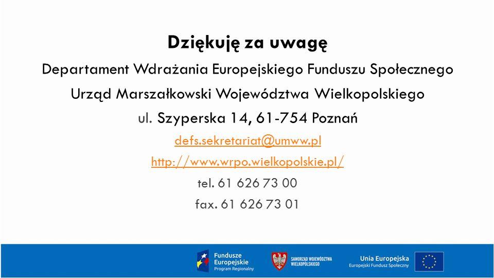 Dziękuję za uwagę Departament Wdrażania Europejskiego Funduszu Społecznego. Urząd Marszałkowski Województwa Wielkopolskiego.