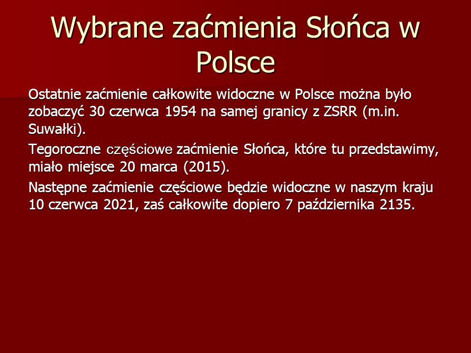 Wybrane zaćmienia Słońca w Polsce