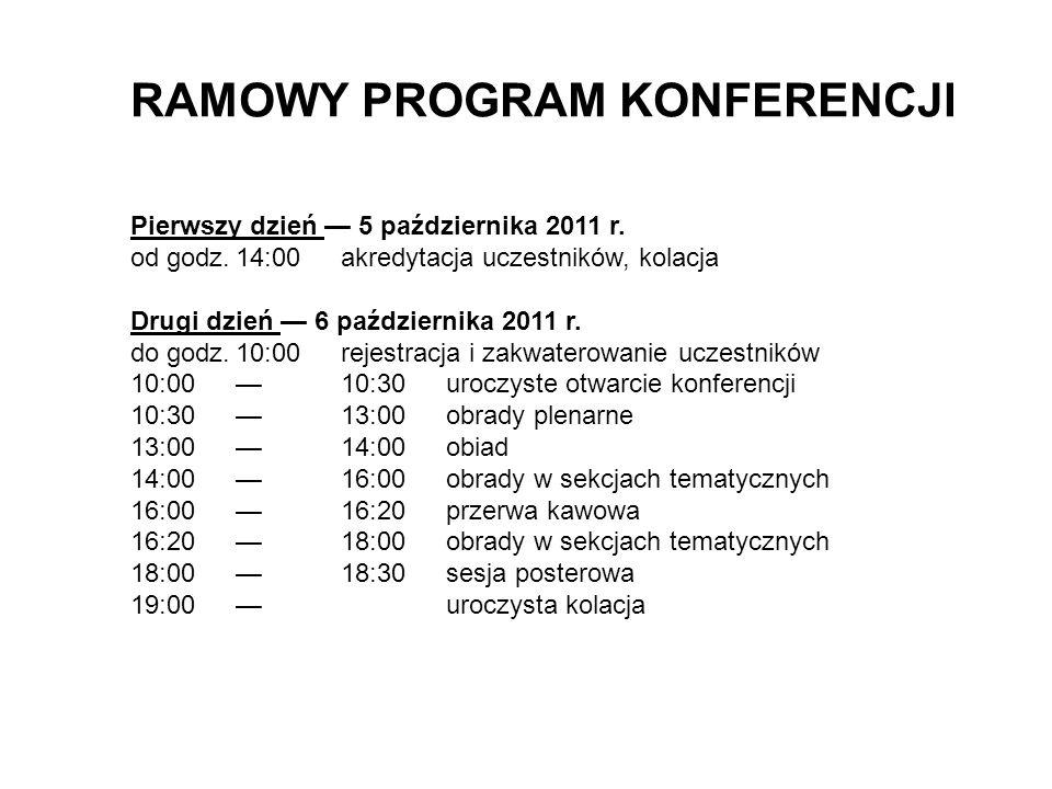 RAMOWY PROGRAM KONFERENCJI