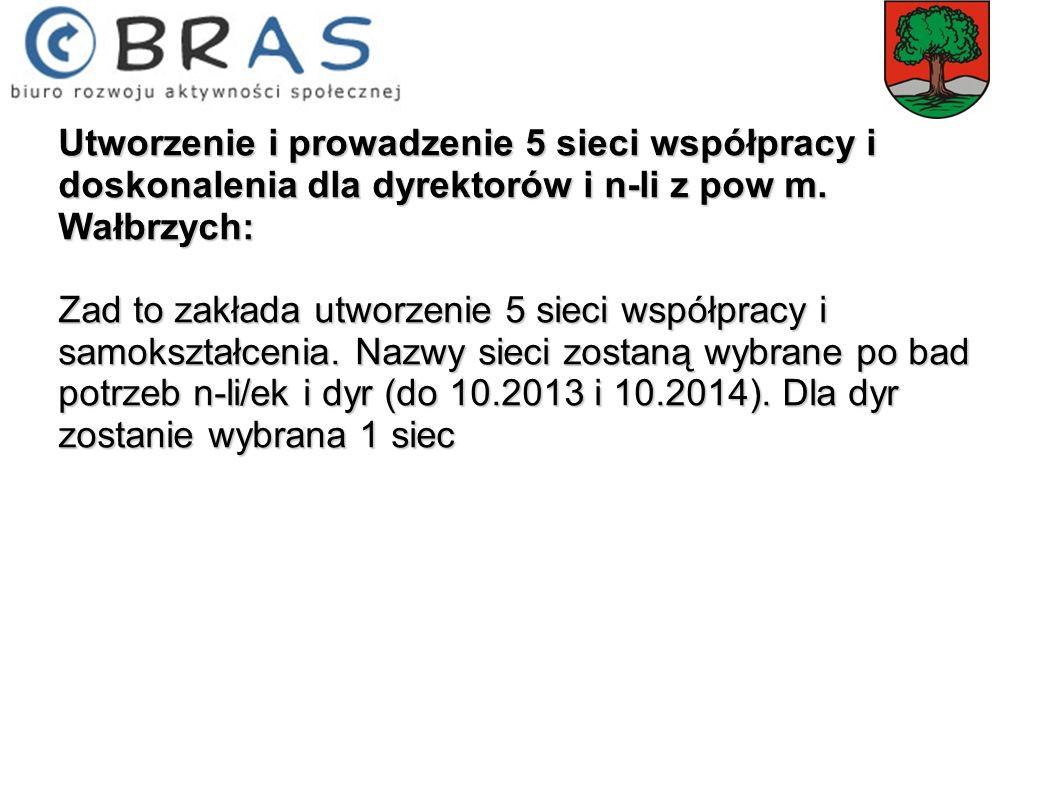 Utworzenie i prowadzenie 5 sieci współpracy i doskonalenia dla dyrektorów i n-li z pow m. Wałbrzych: