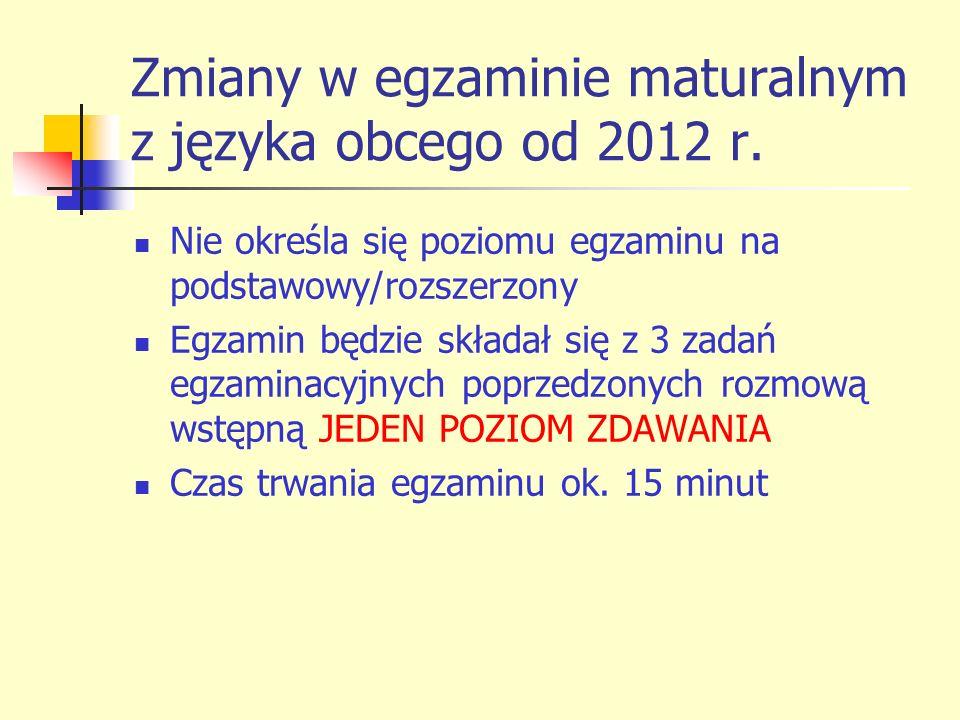 Zmiany w egzaminie maturalnym z języka obcego od 2012 r.