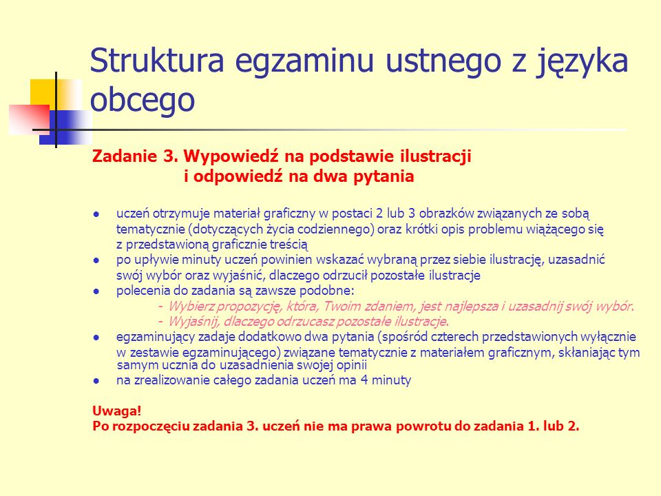 Struktura egzaminu ustnego z języka obcego