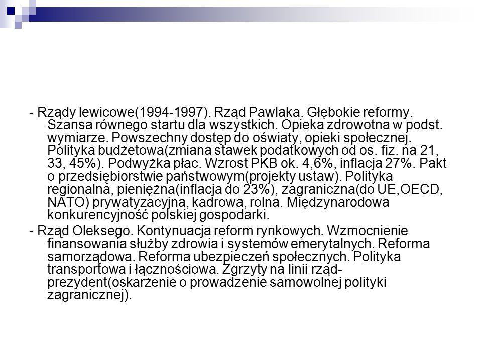 - Rządy lewicowe(1994-1997). Rząd Pawlaka. Głębokie reformy