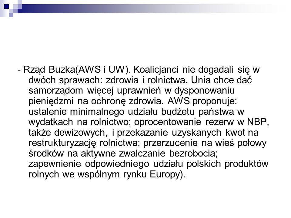 - Rząd Buzka(AWS i UW). Koalicjanci nie dogadali się w dwóch sprawach: zdrowia i rolnictwa.