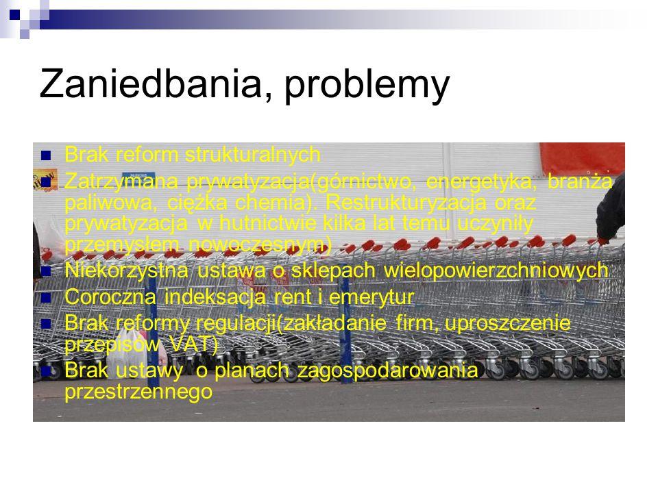 Zaniedbania, problemy Brak reform strukturalnych