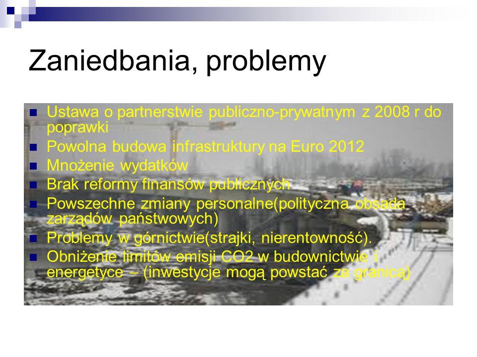 Zaniedbania, problemy Ustawa o partnerstwie publiczno-prywatnym z 2008 r do poprawki. Powolna budowa infrastruktury na Euro 2012.